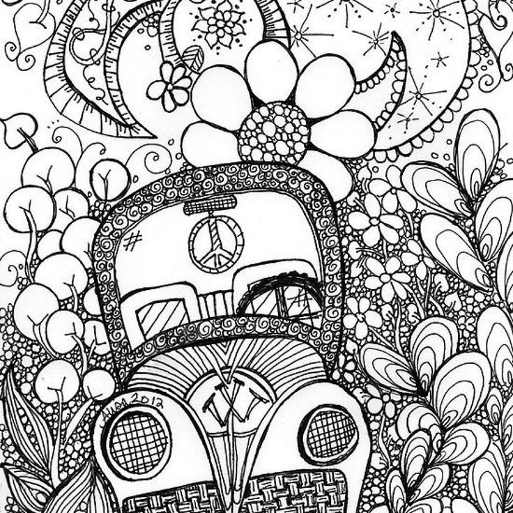 Beautiful Trippy Car Doodle Art Coloring Page