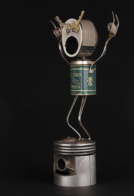 Elton - Found Object Robot Assemblage Sculpture By Brian Marshall by adopt-a-bot, via Flickr #robot #art