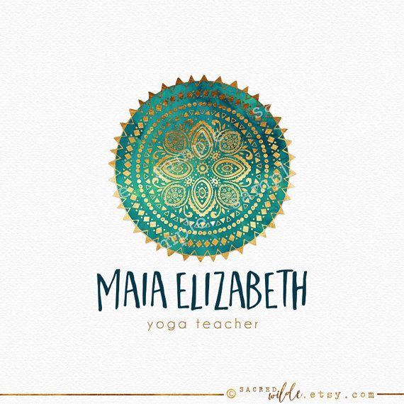 Tribal Mandala Logo Design Floral Mandala Teal by SacredWilde