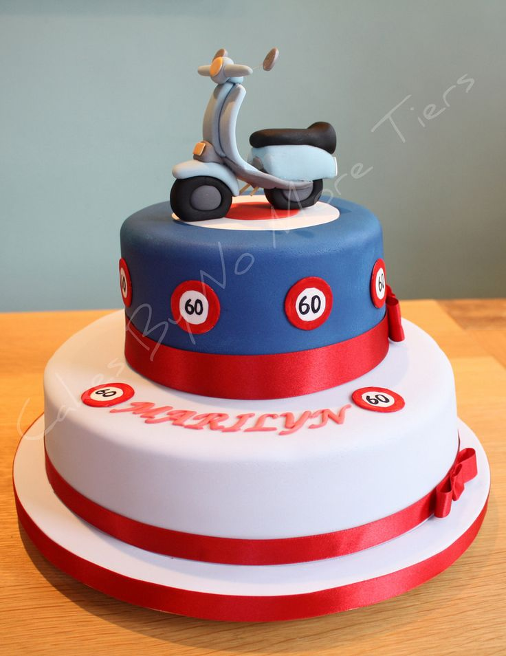 Mod-themed scooter cake