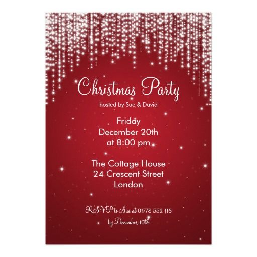 party invitation elegant falling sparkle red