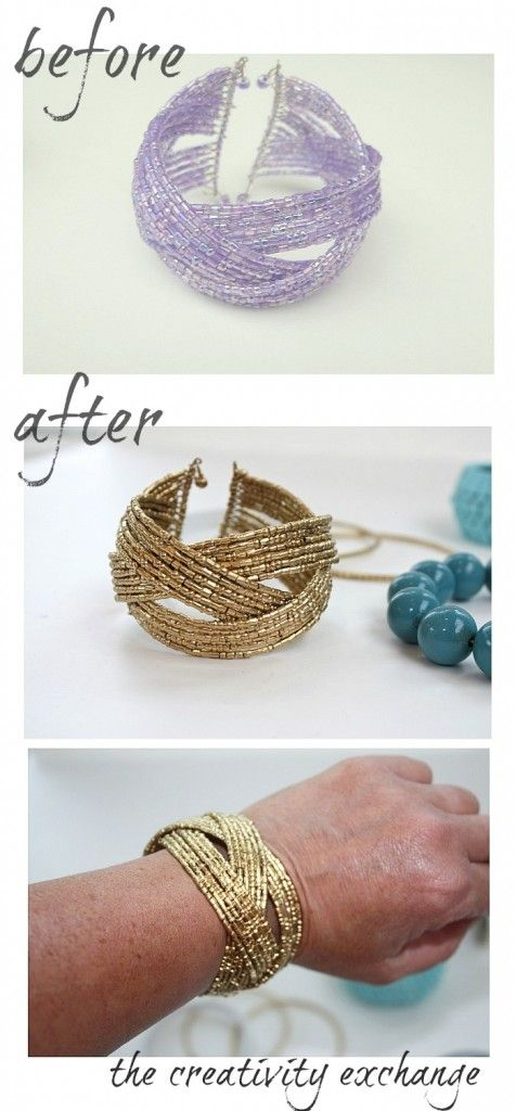 Tutorial for transforming old junk jewelry with enamel spray paint gold