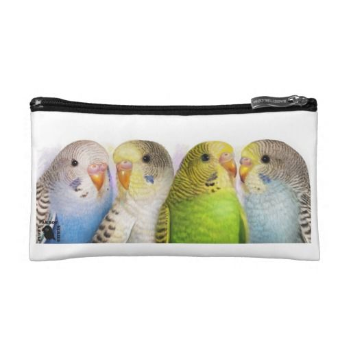 Four budgerigars cosmetic bags. Available also in different bag style. #budgie #budgerigar #greenbudgie #greenparakeet #blueparakeet #prettyparrot #prettybird #birdpainting #petportrait #parrotpainting #budgies #budgerigars #crazybirdlady #birdlover #crazyparrotlady #parrotlover #petportrait #petpainting #classicpainting #birdmerchandise #birdmug #parrottshirt #parrotmug #parrotmerchandise #emmilthomas #deviantart #wallet #wrislet #cosmeticbag #travelaccessory #keycoinclutch #keycoinpouch