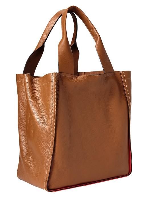 Large colorblock leather tote - it's at Gap.com.  Congac color please.....