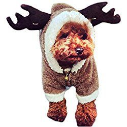 MIXMAX Pet Puppy Dog Christmas Clothes Reindeer Costume Jumpsuit Coat Hoodie Doggy Christmas Gift(Dark brown reindeer, Medium)