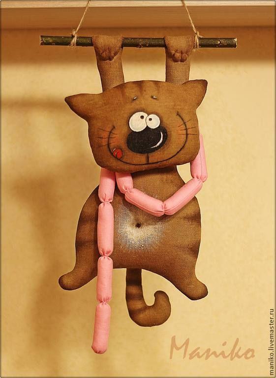 Купить Интерьерная игрушка Кот с сосисками - игрушка ручной работы, кот, ароматизированная игрушка, котик