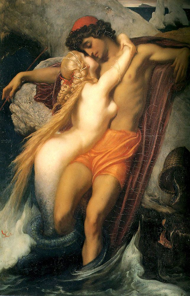 """leighton frederick fisherman and the siren 1856 (from <a href=""""http://www.oldpainters.org/picture.php?/28950/category/12790""""></a>)"""