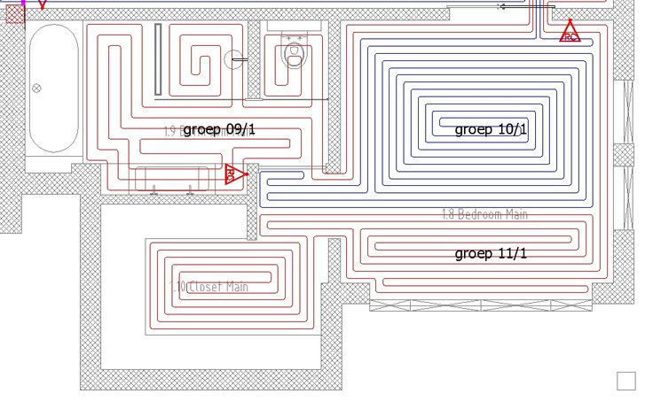 Lay plan of an hydronic underfloor heating system. Learn how to prepare a heat balance and a lay plan before starting the installation of the system at home. www.theshed.nl