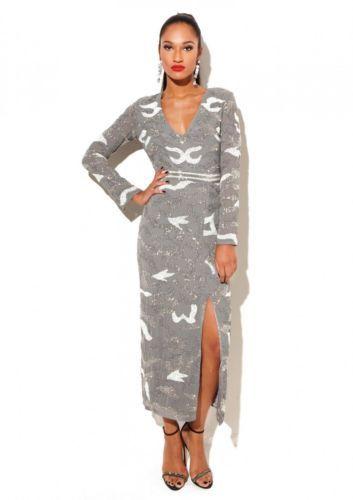 Dress 12 BNWT Virgos Lounge Embellished Maxi Wedding Party Prom RRP £250 Grey Price: £79.99