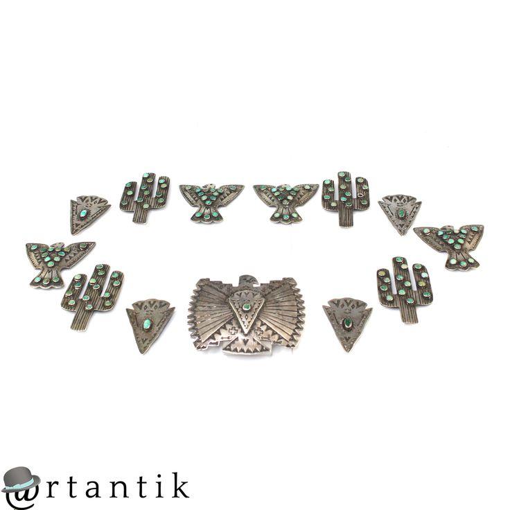 Bijuterii amerindiene - vechi set de elemente pentru centura Navajo - argint si turcoaze - cca 1940 www.artantik.ro
