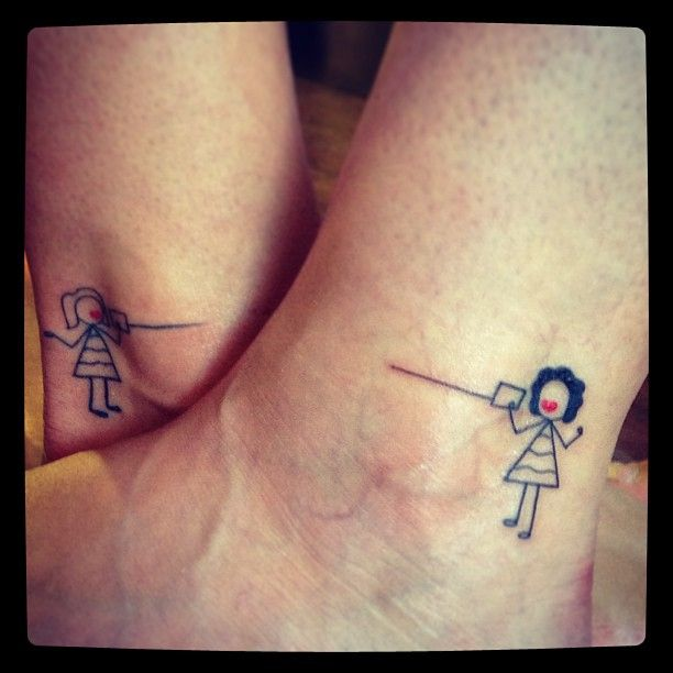 Friendship Tattoo Ideas  telephone Cord Stick People
