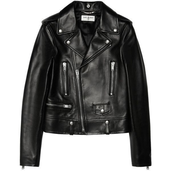 Leather biker jacket Saint Laurent (22142665 PYG) ❤ liked on Polyvore featuring outerwear, jackets, rider jacket, motorcycle jacket, leather moto jackets, leather biker jacket and leather jackets