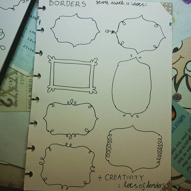 """Learned from @therevisionguide >< the guide's so easy to follow and the borders are cuute >< mine is a bit messy ^^"""" and i have so much fun making this  this is the part 1 ^^ #pendrawing #doodle #border #therevisionguide_howto #creativity"""
