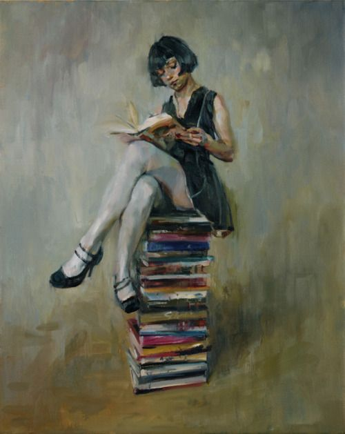 Painting of girl with her favorite hobby.  READING