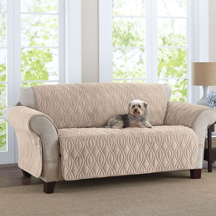 "This deluxe quilted, fleece-like sofa cover is designed to wrap all the way around your furniture for optimum protection against pet hairs and dirty paws.    fits up to a 68""W seat oversized backdrop and generous front seat drop four ties at all four corners to keep cover in place polyester machine wash imported and protect your floors with our beautiful selection of rugs! we offer a wide range of slipcovers to fit your different needs, all at great values.    Why Buy? Furniture co..."