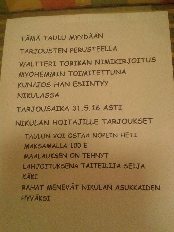 Waltteri Torikalle tehty erilaisia kutsuvaihtoehtoja, yksi nyt tarkoitus myydä, tässä siitä ohjeistus. Kutsu löytyy viereisestä taulusta