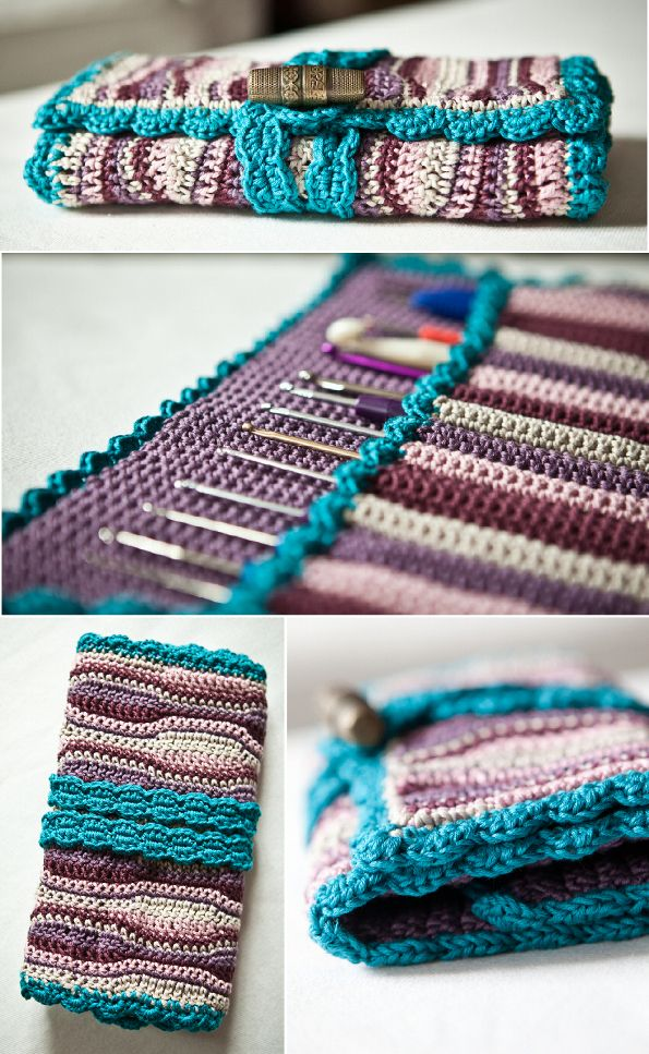 crochet hook case with free pattern and picture tutorial ....haaknaalden mapje met patroontje en uitleg.