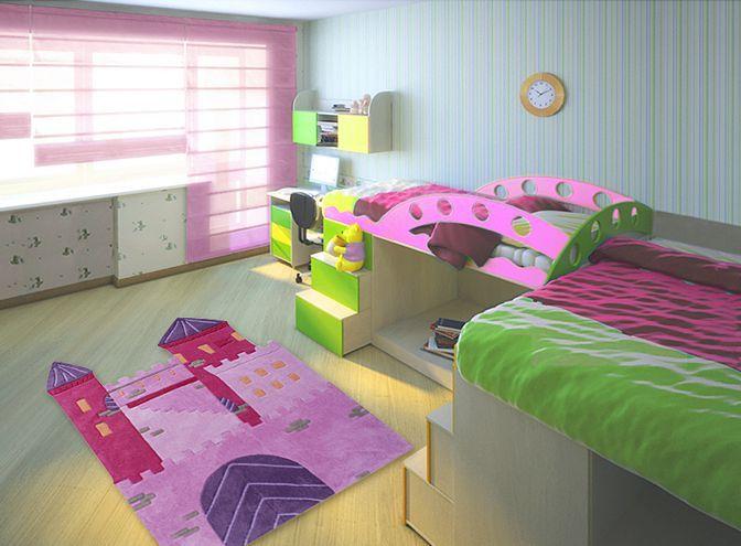 Happy Rugs w Limango - dywan do pokoju dziecięcego fioletowy Zamek Księżniczki