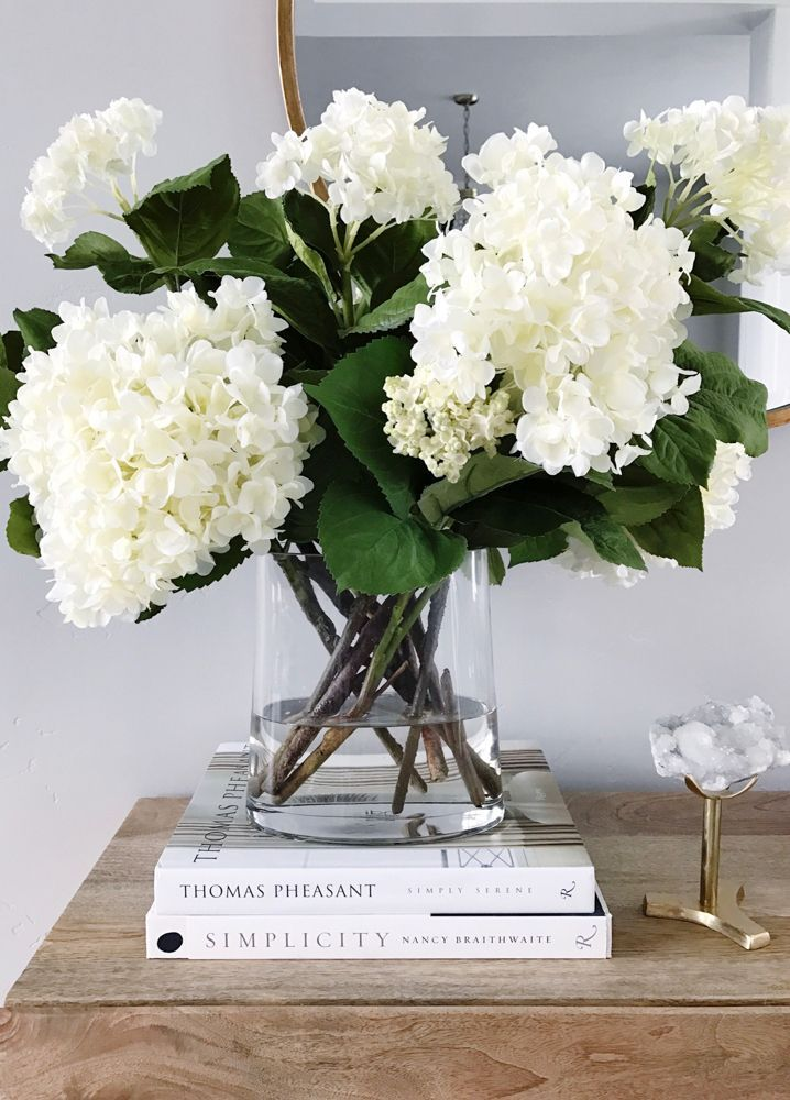 Decorating With White Hydrangeas My Favorite Flower Floral Arrangements Decor Coffee Table Styling