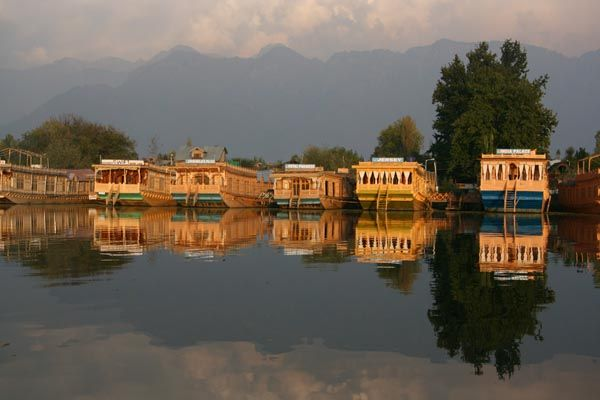 Houseboats lined up on Nagin Lake, Srinagar, Kashmir, India