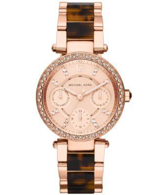 Michael Kors Women's Chronograph Mini Parker Tortoise Acetate and Rose Gold-Tone Stainless Steel Bracelet Watch 33mm MK5841 | macys.com