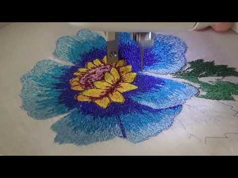86490f9b55e Bordado de flor con maquina de coser eléctrica con solo puntada recta- P6  hojas - YouTube