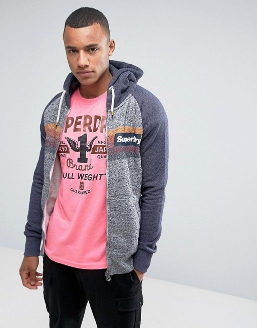 7b0c74e057a53 Superdry Zip Through Hoodie With Color Block Print   Pinterest ...
