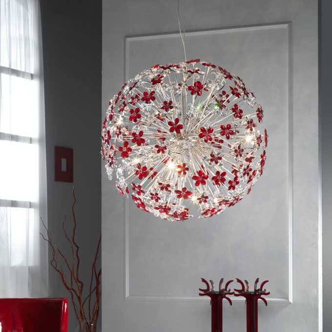 Moon 12/L chandelier with cristal flowers by effebiweb.com