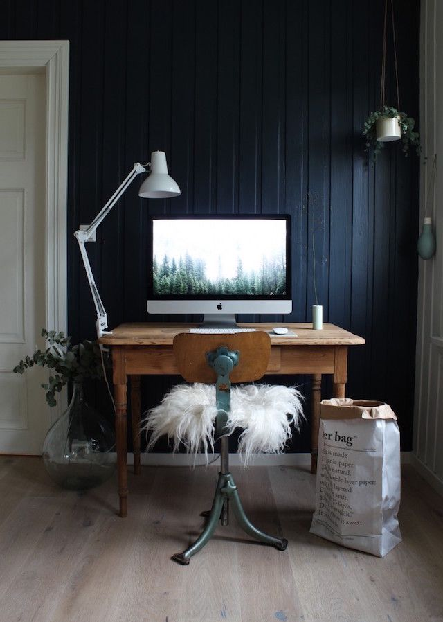 An office in a cosy Norwegian home in the country