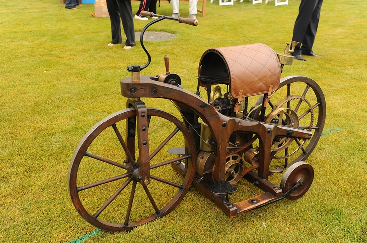 The first internal combustion, petroleum fueled motorcycle was the Petroleum Reitwagen. It was designed and built by the German inventors Gottlieb Daimler and Wilhelm Maybach in Bad Cannstatt, Germany in 1885.