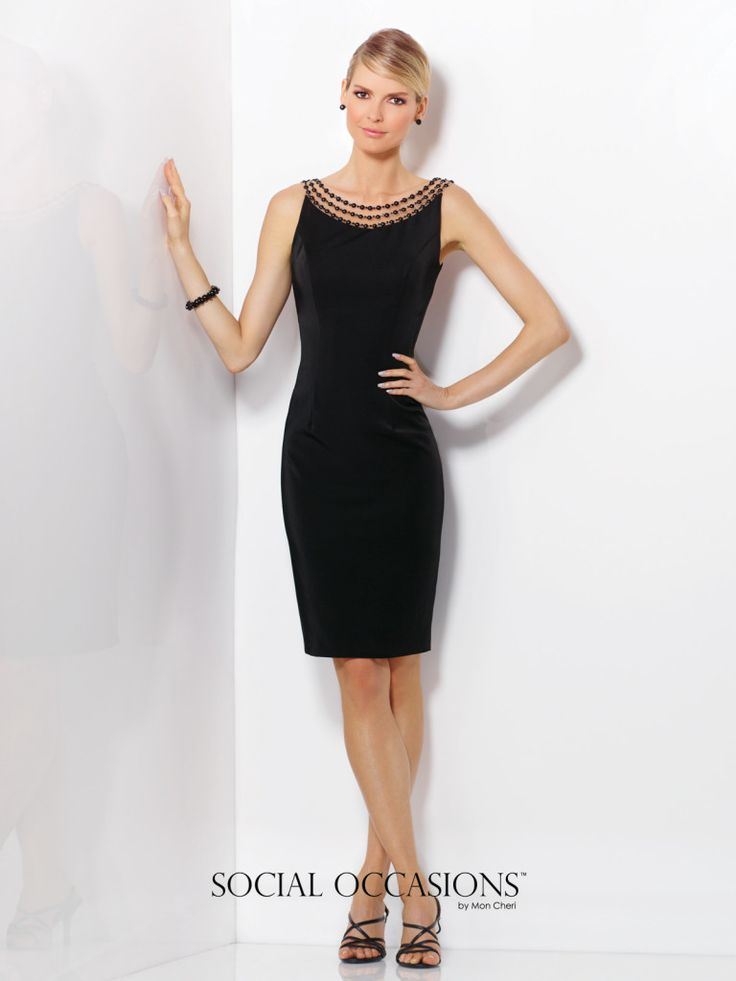 Social Occasions by Mon Cheri - 116833 - Sleeveless novelty crepe knee-length sheath in Black, Ivory or Red