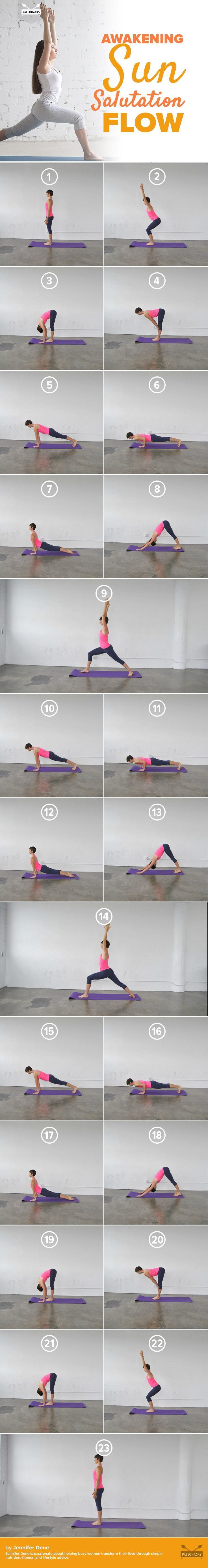 Strengthen and stretch your entire body with this energizing sun salutation. Below, I'll walk you through how you can do this traditional sequence to soothe your mind and keep your body in shape. For the full yoga guide, visit us here: http://paleo.co/sunsalutationflow