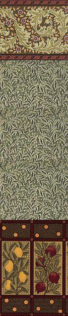 Hand Printed Victorian Art Wallpaper | Kelmscott Frieze, Walden Leaf Wallpaper…