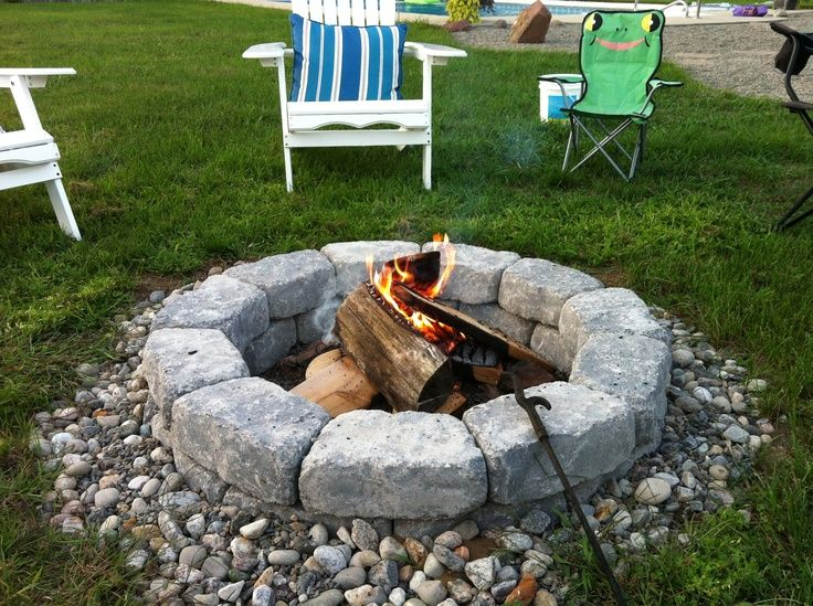 Simple River Rock Firepits | ... Together With A Bit Of Cocking And Filled. Firepit  IdeasPatio ...