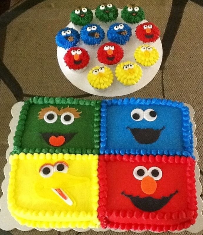 These amazing Sesame Street cakes and cupcakes were made for a little boy's first birthday.   They feature Oscar the Grouch, Cookie Monster, Elmo and Big Bird.  Please visit the link for more unique party ideas from this celebration.