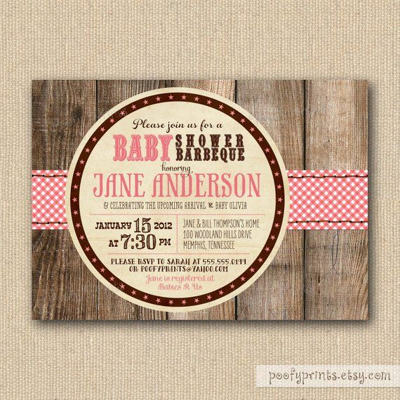 BBQ Baby Shower Invitations – Rustic Baby Girl Shower Printable Invitations – Jamie Collection