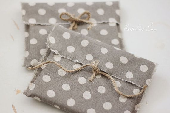 CD packaging - 10 linen fabric envelopes - cream dots on grey CD envelopes-client packaging,