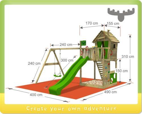 Speeltoestel FATMOOSE HappyHome Hot XXL met schommel, speeltoren met boomhut, klimwand en schommel
