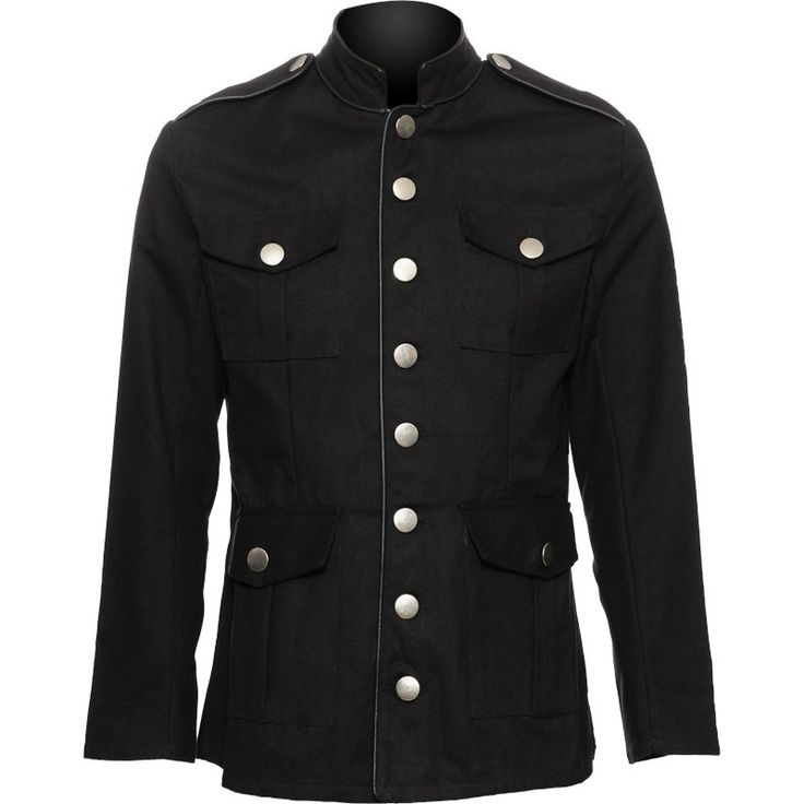 Men's officers jacket from the uniform collection by goth clothing brand Raven SDL, black cotton with piping at neck, sleeves and front.