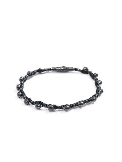 Leather & oxidised silver bracelet   #BottegaVeneta