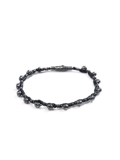 Leather & oxidised silver bracelet | #BottegaVeneta
