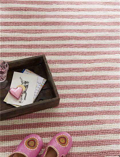 New Handgekn pfter Teppich mit pinken Streifen aus einem Wolle Baumwolle Gemisch W hlen Sie jetzt Ihre