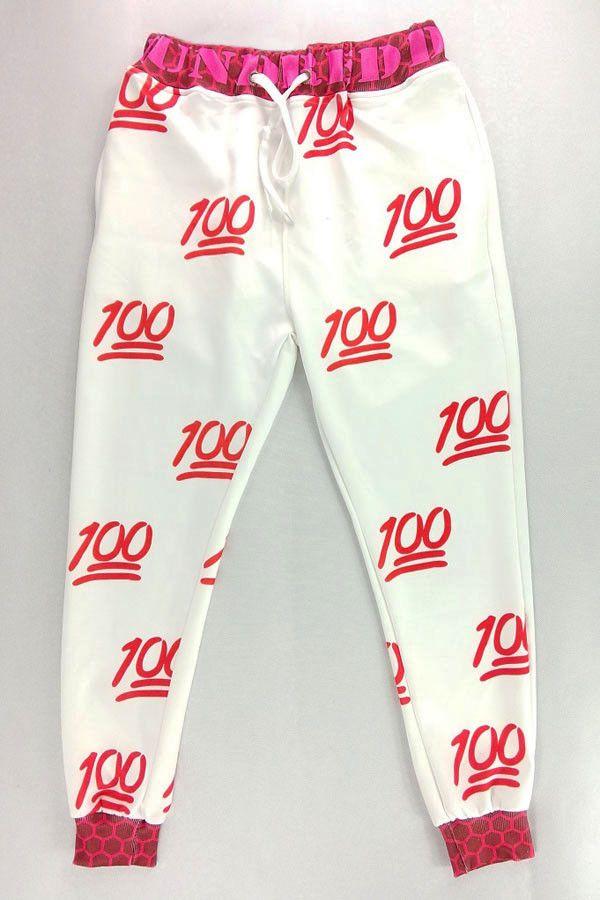 Red 100 Score Emoji Jogger Pants