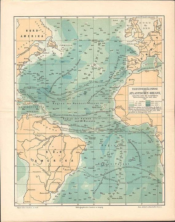 Antique Atlantic Ocean Depth ratios map // by KuriosartAntique