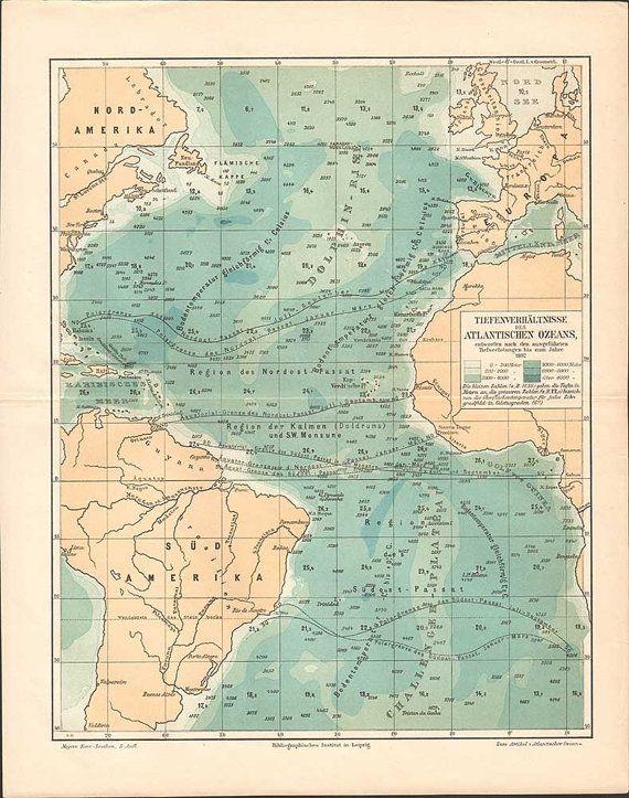 Antique Atlantic Ocean Depth ratios map // by KuriosartAntique