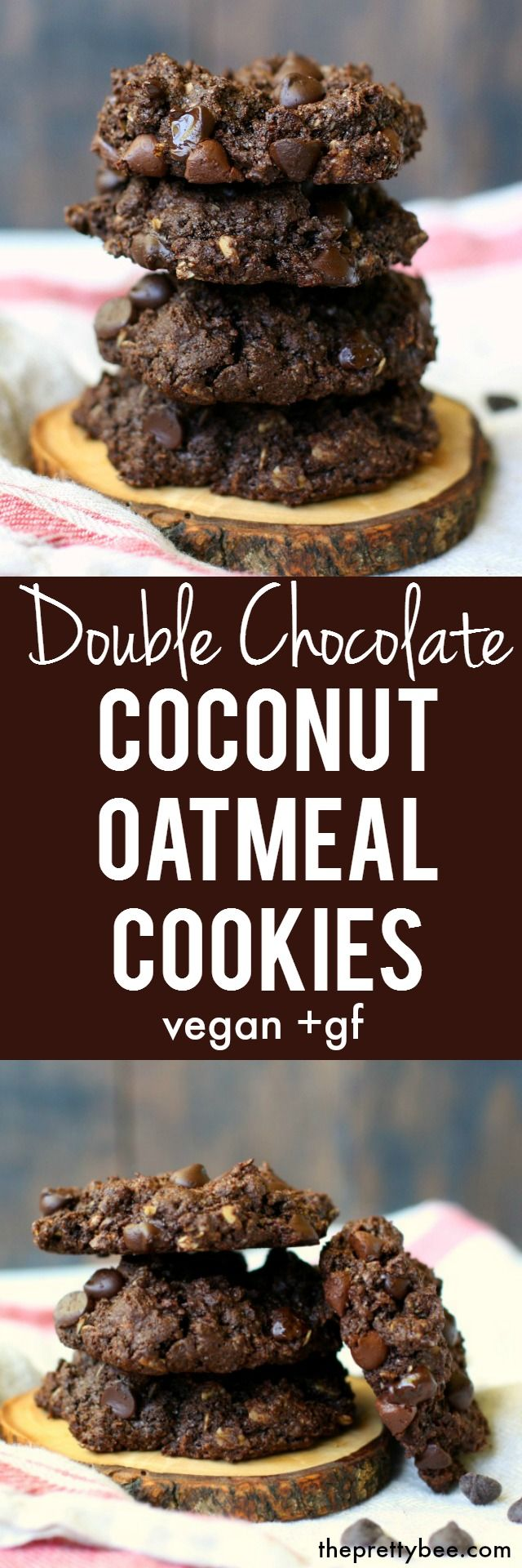 These double chocolate coconut oatmeal cookies are gluten free and vegan, and are delicious!