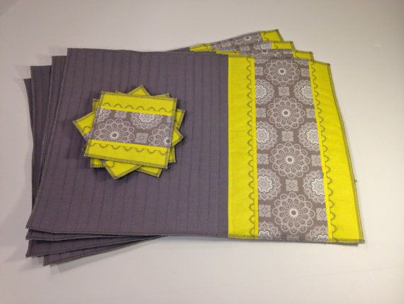 Yellow Placemat Set  4 placemats and 4 coasters  by modernarras #etsy #etsyrmp