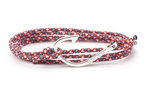 The Chuck nautical themed men's bracelet is hand fashioned out of rope with a silver zinc alloy fish hook to add that extra personality and flair.