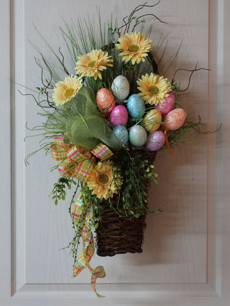 Easter wreath,once Easter is over remove eggs for a pretty Spring basket wreath.