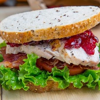 Roast Turkey Club Sandwich with Cranberry Sauce...This looks delicious!!